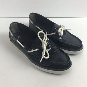 Cole Haan Nantucket Camp navy patent leather shoe